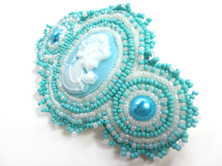 Blue Cameo Barrette