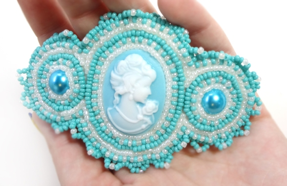 Blue Beaded Barrette