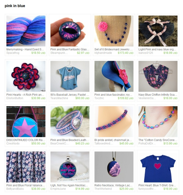 ac6975323 Pink in Blue Handmade Items