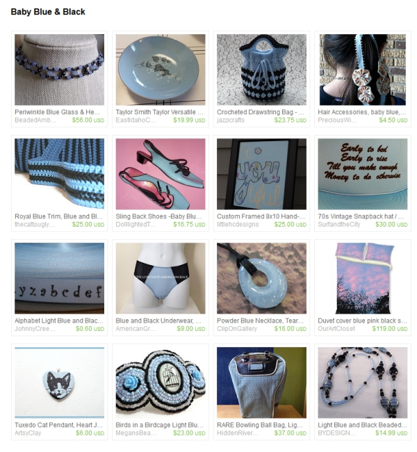 Blue and Black Etsy Treasury