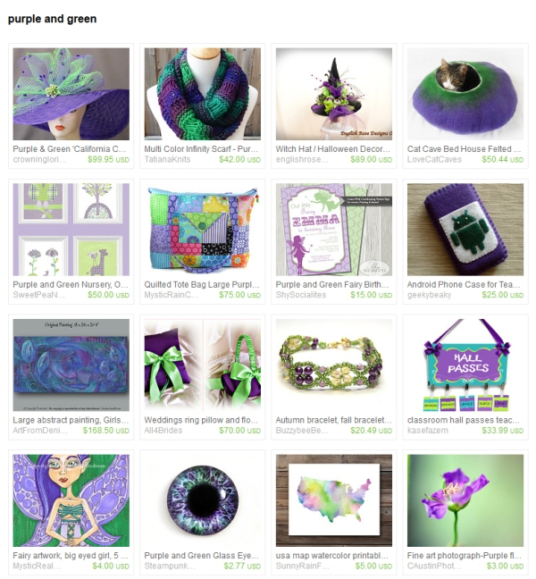 Purple an dGreen Etsy Treasury